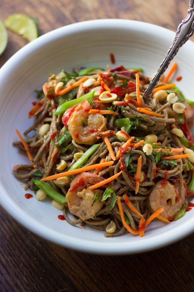 Summer Veggie, Shrimp & Soba Noodle Salad with Peanut Dressing Recipe | HeyFood — heyfoodapp.com