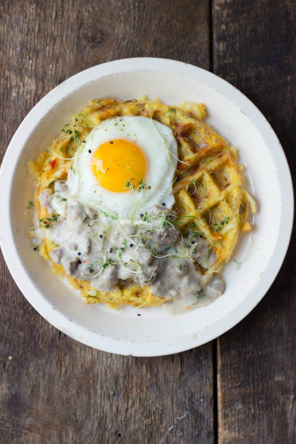 Hash Brown Waffles + Turkey Sausage Gravy Recipe | HeyFood — heyfoodapp.com