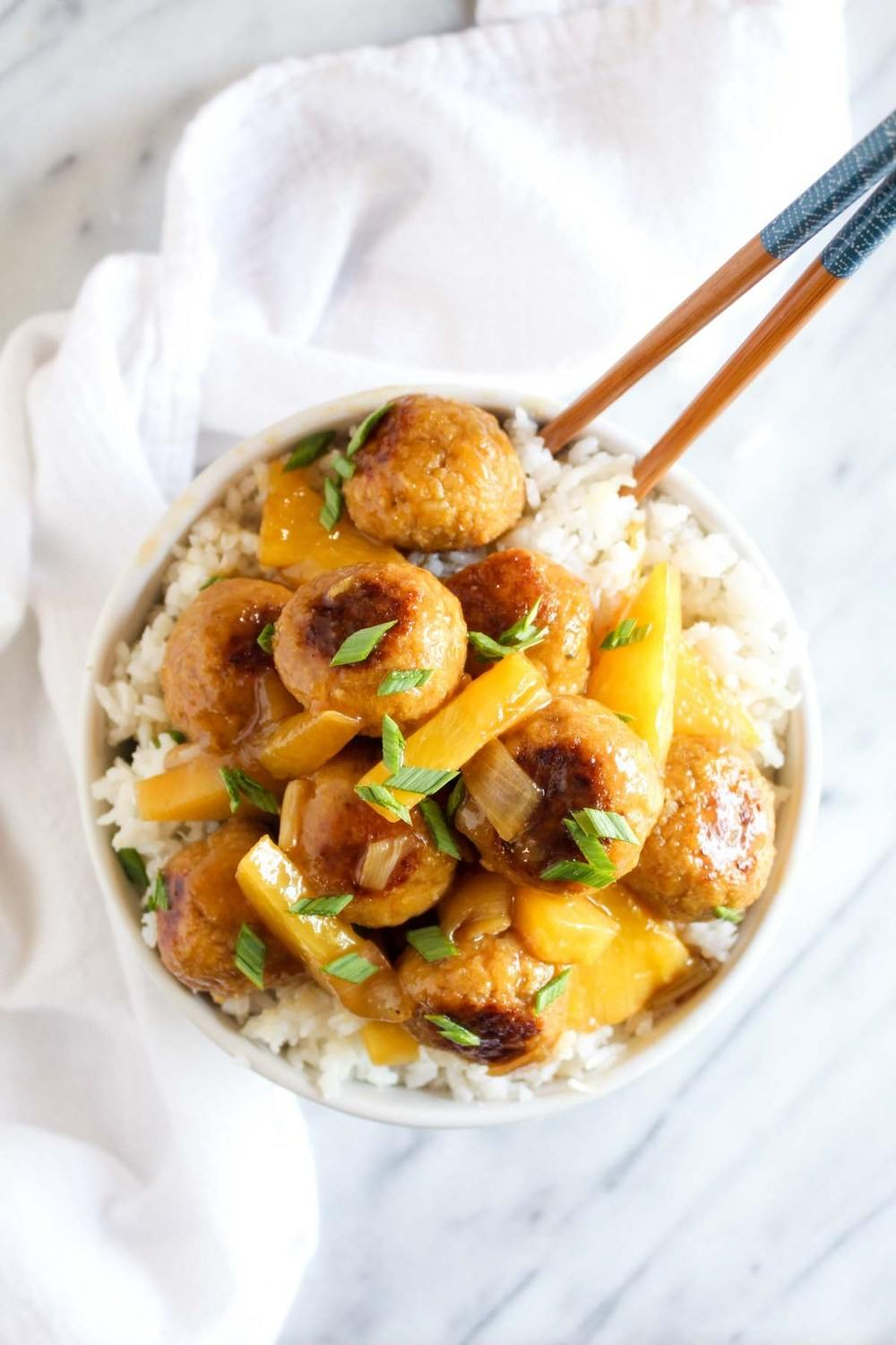 Sweet and Sour Tempeh Meatballs with Coconut Rice Recipe | HeyFood — heyfoodapp.com