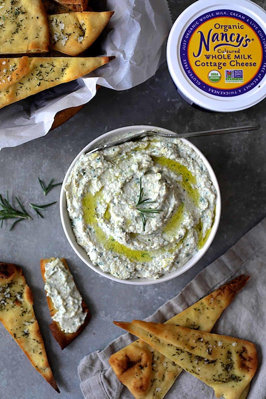 White Bean Artichoke Spread with Rosemary Sea Salt Flatbread Chips Recipe   HeyFood — heyfoodapp.com