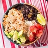 Slow Cooker Chicken Burrito Bowls Recipe | HeyFood — heyfoodapp.com