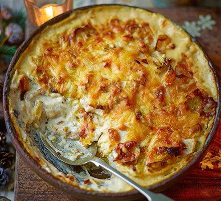 Cheesy celeriac, leek & rosemary gratin Recipe | HeyFood — heyfoodapp.com