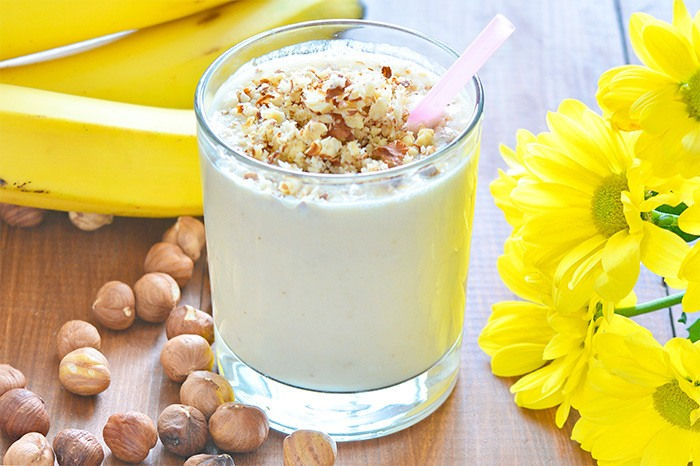 Hazelnut Banana Yogurt Smoothie Recipe | HeyFood — heyfoodapp.com