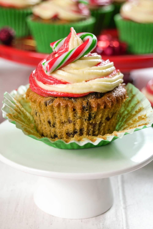 Festive Fruitcake Candy Cane Cupcakes Recipe | HeyFood — heyfoodapp.com