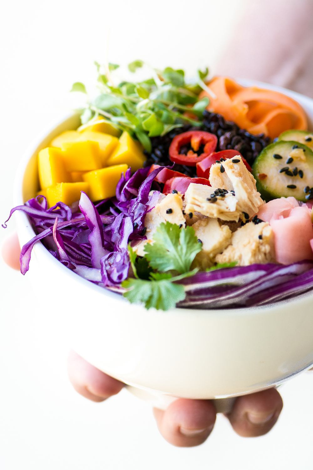 Rainbow Poke Bowl with Canned Tuna Recipe | HeyFood — heyfoodapp.com