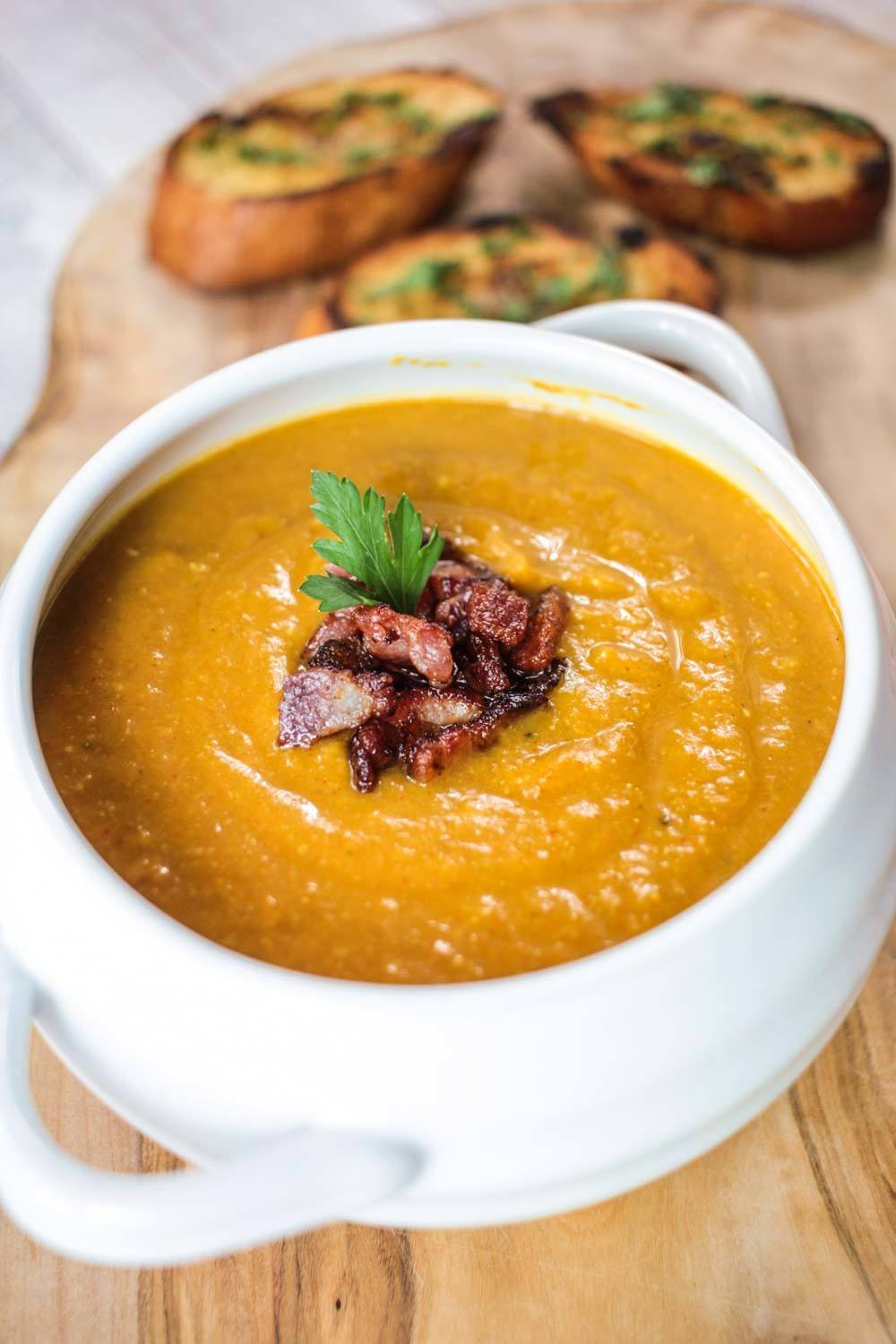 Spiced Red Lentil and Bacon Soup Recipe | HeyFood — heyfoodapp.com
