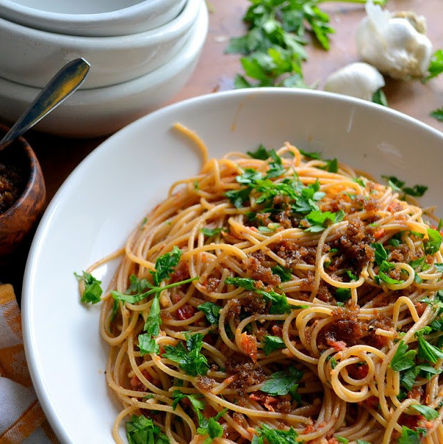 Pasta with Sun Dried Tomato and Almond Pesto Recipe | HeyFood — heyfoodapp.com
