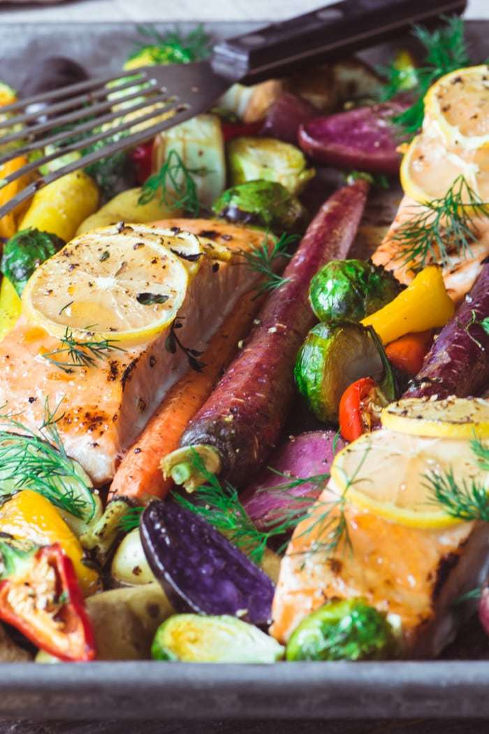 Sheet Pan Salmon with Caramelized Winter Veggies Recipe | HeyFood — heyfoodapp.com