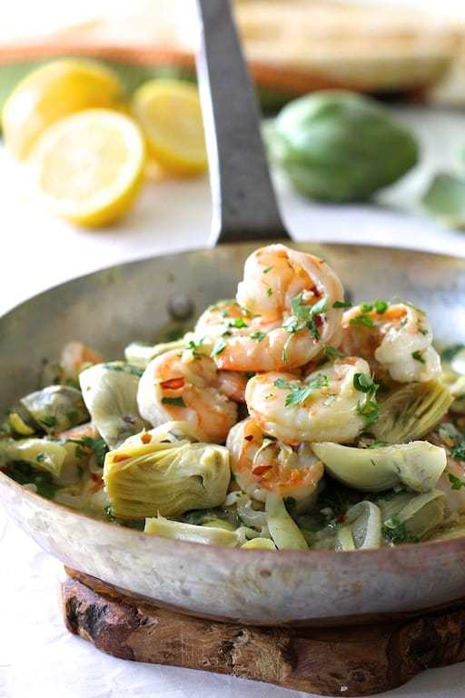 Shrimp Scampi with Shallots and Artichokes Recipe | HeyFood — heyfoodapp.com